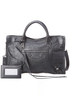 Balenciaga Classic Silver City Medium Leather Shoulder Bag
