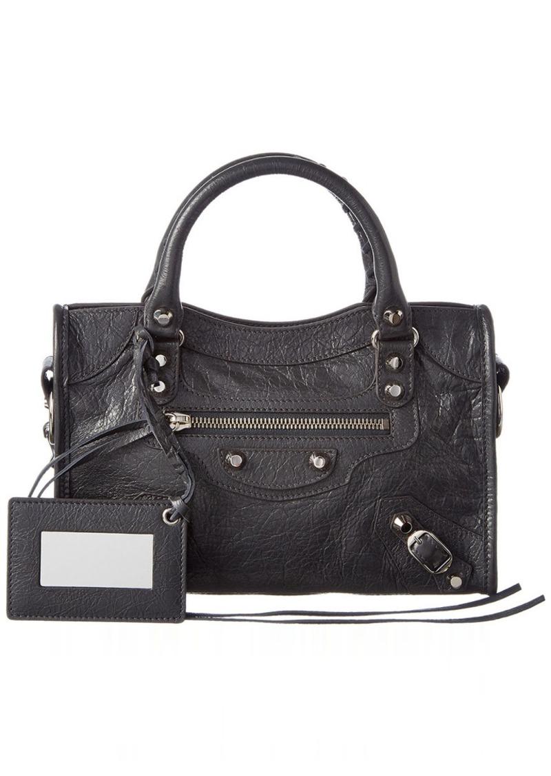 Balenciaga Classic Silver City Mini Leather Shoulder Bag