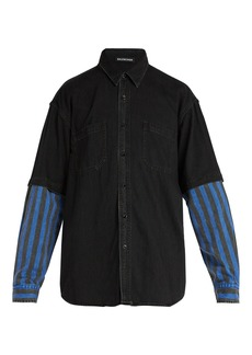 Balenciaga Contrast-sleeved denim shirt