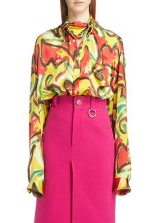 Balenciaga Couture Floral Print Satin Crépon Shirt