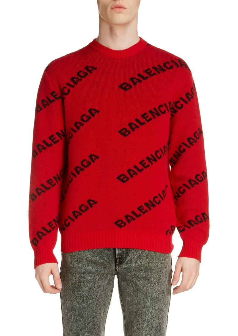 Balenciaga Crewneck Logo Wool Blend Sweater