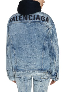 Balenciaga Crinkle Wash Logo Denim Jacket