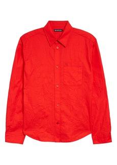 Balenciaga Crinkled Poplin Button-Up Shirt