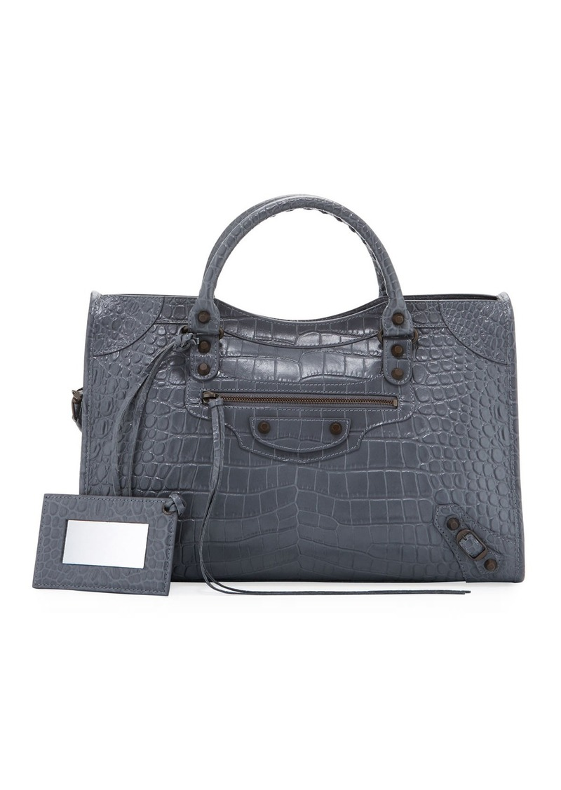 9e0d1cbd26b Balenciaga Balenciaga Croc-Embossed Brass City Tote Bag | Handbags