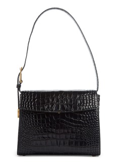 Balenciaga Croc Embossed Calfskin Leather Shoulder Bag