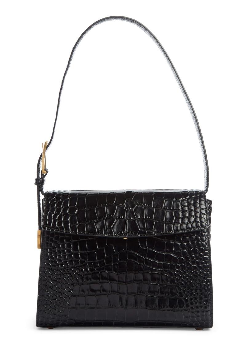 Balenciaga Croc Embossed Calfskin Leather Shoulder Bag