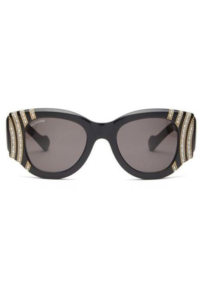 Balenciaga Crystal and chain-bead round acetate sunglasses