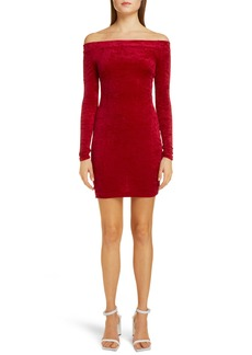 Balenciaga Cycling Off the Shoulder Long Sleeve Velvet Body-Con Minidress