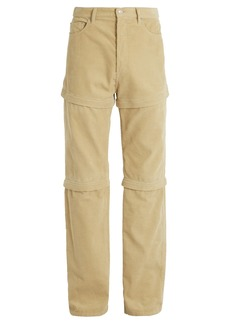 Balenciaga Detachable-panel cotton-corduroy trousers