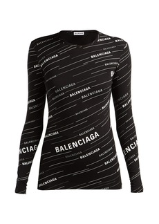 Balenciaga Diagonal logo-print stretch-jersey top