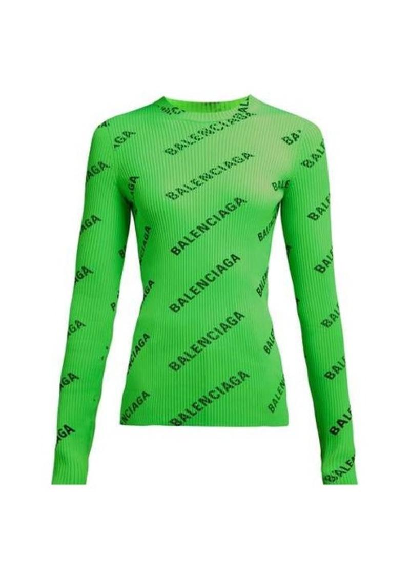 Balenciaga Diagonal logo-printed ribbed-knit top