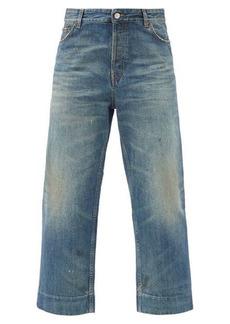 Balenciaga Distressed organic-cotton cropped jeans