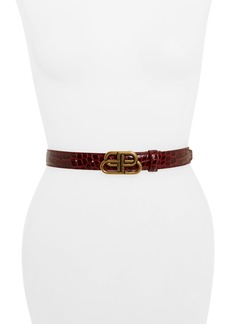Balenciaga Double B Logo Buckle Croc Embossed Leather Belt