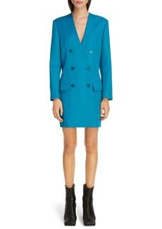 Balenciaga Double Breasted Tech Twill Long Sleeve Blazer Dress