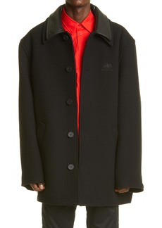 Balenciaga Double Face Wool & Cashmere Coat with Leather Collar