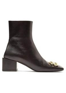 Balenciaga Double Square logo-embellished leather ankle boots