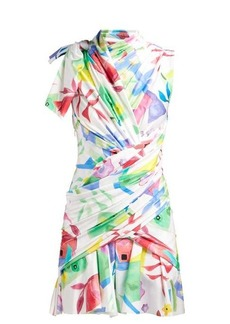Balenciaga Draped abstract-print satin dress