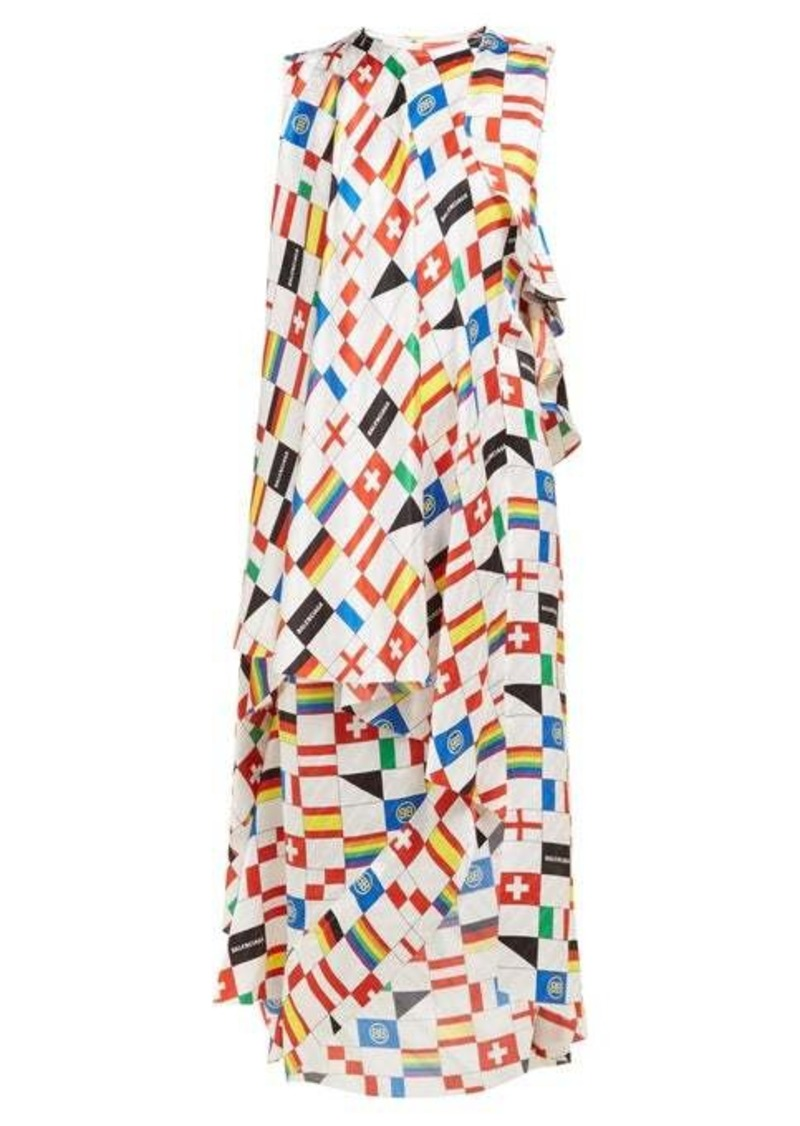 Balenciaga Draped flag-print silk-satin dress