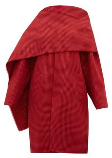 Balenciaga Draped-neckline houndstooth wool coat