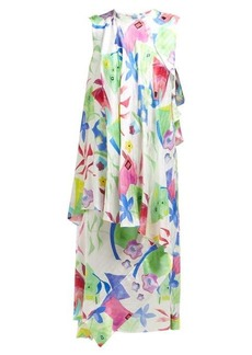 Balenciaga Draped watercolour-print silk-satin dress