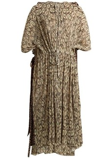 Balenciaga Drawstring-waist pleated dollar-print dress