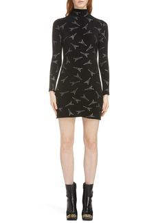 Balenciaga Embellished Eiffel Tower Body-Con Sweater Dress