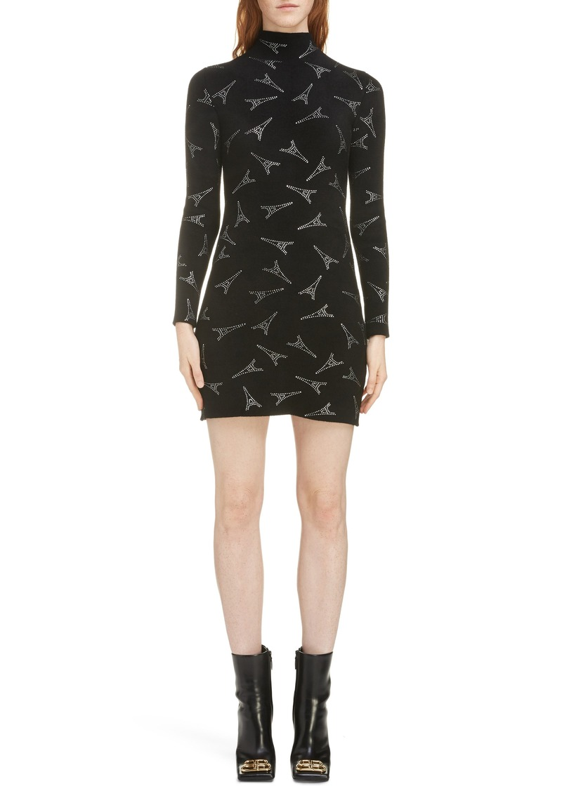 Balenciaga Embellished Eiffel Tower Body-Con Sweater Dress