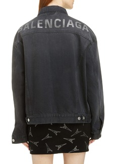 Balenciaga Embellished Logo Denim Jacket