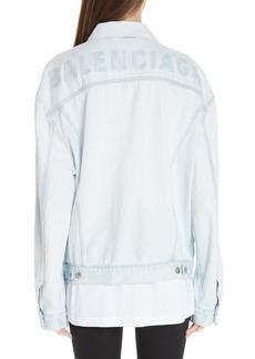Balenciaga Embossed Back Logo Denim Jacket