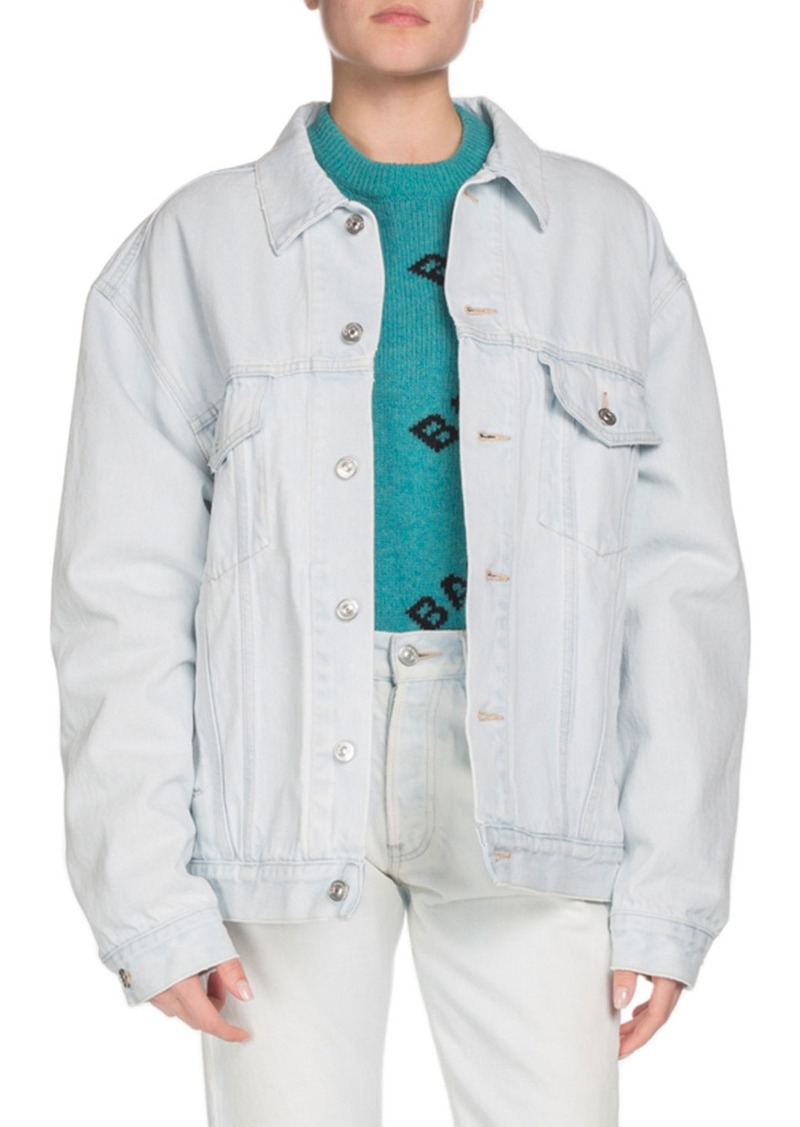 Balenciaga Embossed-Logo Button-Down Denim Jacket