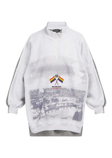 Balenciaga Embroidered cotton-blend sweatshirt