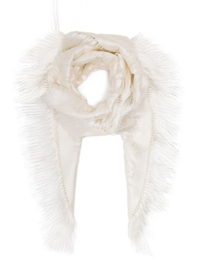 Balenciaga Embroidered Fringe Scarf