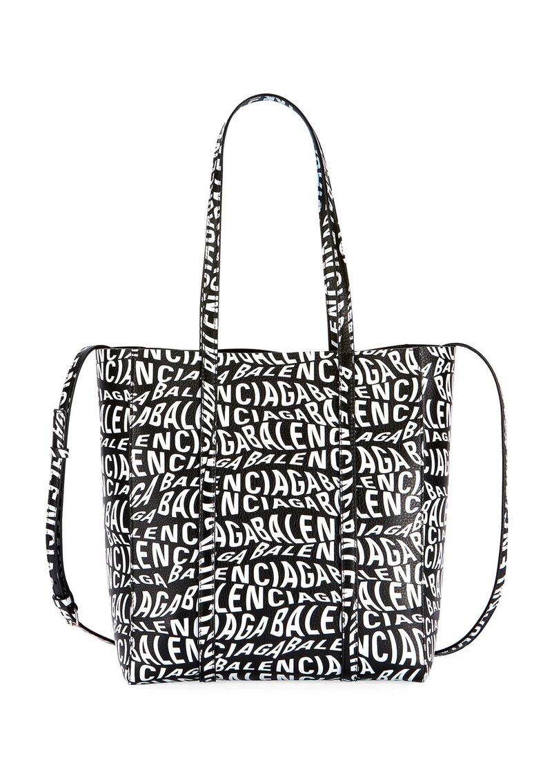 Balenciaga Everyday Small Wave Logo Calfskin Tote Bag