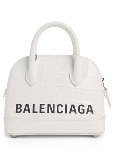 Balenciaga Extra Extra Small Ville Logo Croc-Embossed Leather Crossbody Satchel