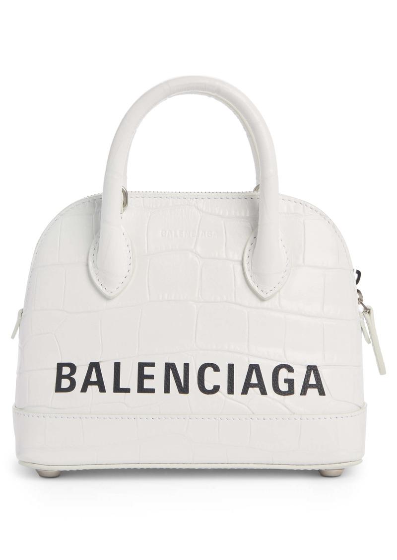 Balenciaga Extra Extra Small Ville Logo Croc-Embossed Leather Crossbody Satchel
