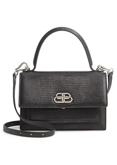 Balenciaga Extra Small Sharp Lizard Embossed Patent Leather Shoulder Bag