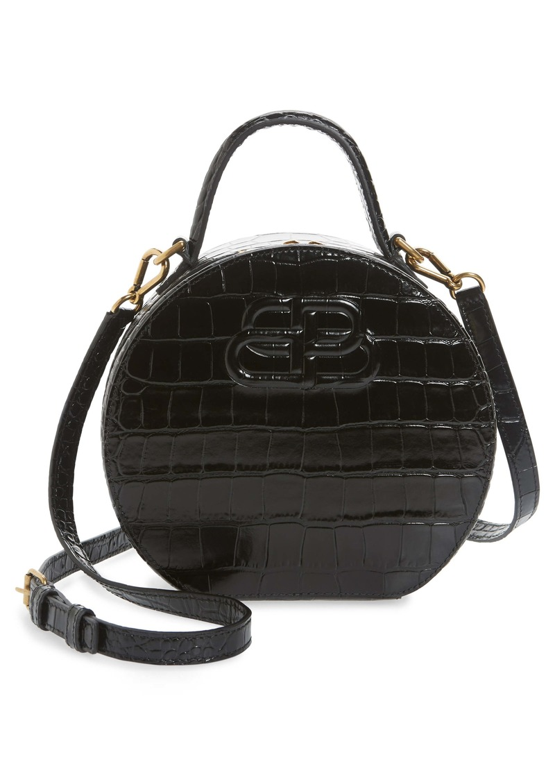 Balenciaga Extra Small Vanity Croc Embossed Leather Round Shoulder Bag