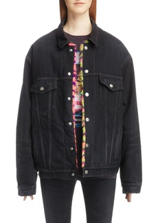Balenciaga Faux Fur Trim Oversize Denim Jacket with Faux Fur