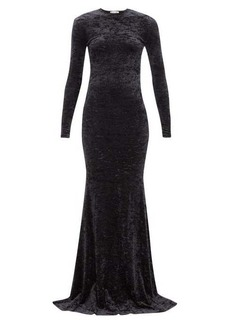 Balenciaga Fishtail-hem crushed-velvet dress