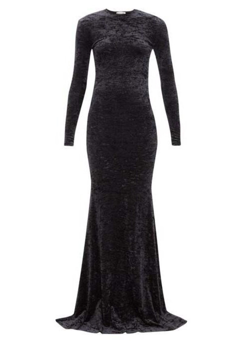 Balenciaga Fishtail-hem crushed-velvet dress