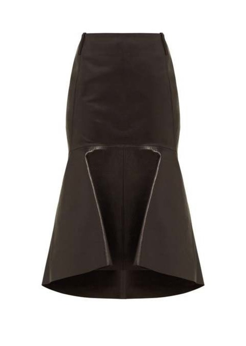 Balenciaga Fishtail-hem leather skirt
