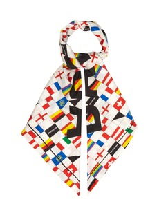 Balenciaga Flag and logo-jacquard silk scarf