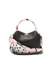 Balenciaga Flap scarf-trim logo leather bag