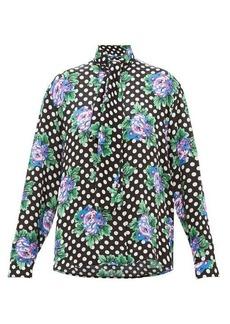 Balenciaga Floral and polka dot-print silk blouse