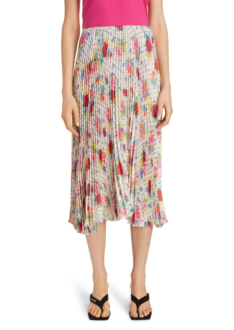 Balenciaga Floral Dot Pleated Midi Skirt