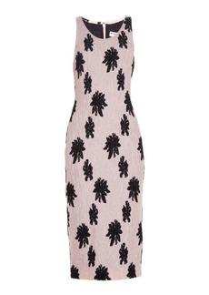 Balenciaga Floral-motif silk-cloqué midi dress
