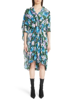 Balenciaga Floral Print Cape Detail Dress