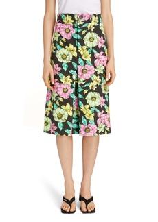 Balenciaga Floral Print Cotton A-Line Skirt