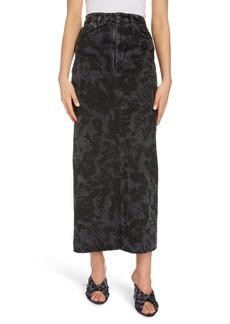 Balenciaga Floral Print Denim Skirt