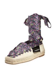 Balenciaga Floral-Print Lace-Up Espadrille